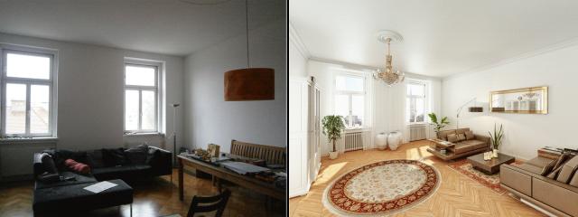 Homestaging Vergleich Vorher Nachher ©2014 Hubmer³ - Visualisierungen