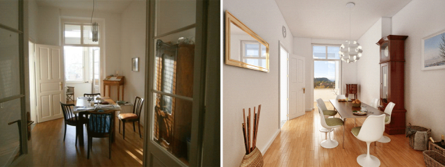 Homestaging Vergleich 2 Vorher Nachher ©2014 Hubmer³ - Visualisierungen