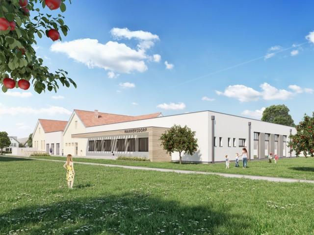 Zubau Volksschule Mannersdorf an der Rabnitz, Spener ZT KG, Hubmer³ - Visualisierungen ©2017
